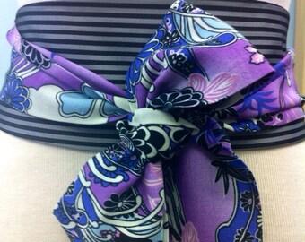 Japanese print purple obi belt  asian waist cincher striped sash reversible