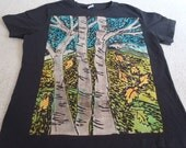 Aspen trees, yellow orange leaves, blue skies, mountain peaks, woman's large shirt with an orginal discharged block print, procion dyes