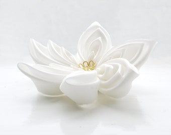 Wedding Fascinator  - Bridal Fascinator - Kanzashi - Ivory White Hair Flower - Bridal Hair Flower  - Wedding Hair Accessories