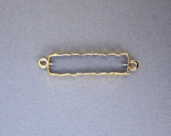 Crystal Quartz Bar Double Bail Charm Connector Pendant with 24k Gold Electroplated Edges (S28B9-08)