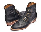 black leather buckles and straps boots  - FREE SHIPPING