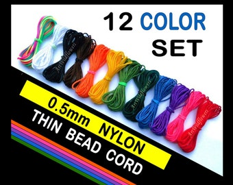 0.5mm Nylon Cord - 12 Color Assortment - Colored Bead Cording - Thin Beading Thread - Bracelet String for Jewelry Making - Like C-Lon