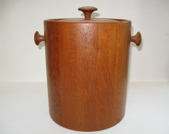 Digsmed Denmark Large Staved Teak Wood Ice Bucket - Vintage 1960s Danish Modern Barware