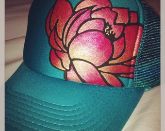 Jade green trucker with hand painted goldy/deep red ombré lotus