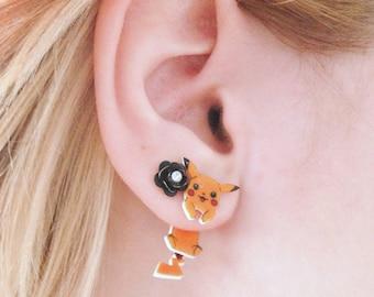 Cute Clinging Pikachu Earrings