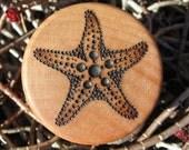 "Sea Star Starfish Pyrography Woodburning on 1.5"" Diameter Round Wood Box"
