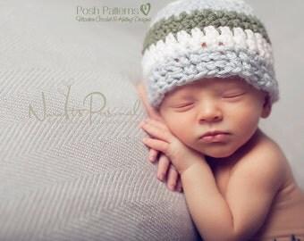 Crochet PATTERN - Crochet Hat Pattern - Easy Crochet Beanie - Includes Baby, Toddler, Child, Kids, Adult Sizes - Photo Prop - PDF 263