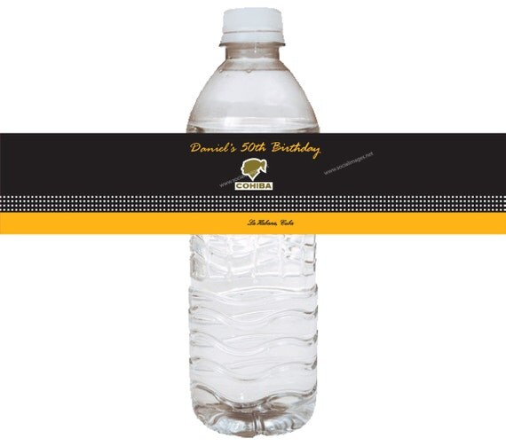Cohiba Inspired Cigar Box Water Bottle Labels -24 Quantity