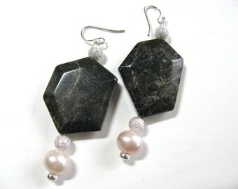 Black and white earrings, dangle earrings, gemstone earrings, sterling silver, handmade earrings