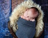 Stretch wrap - 'CHARCOAL' newborn stretch wrap  / scarf - prop blanket - knitbysarah - Stitches by Sarah