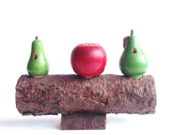 Rustic Salt & Pepper Set - Vintage Salt and Pepper Shakers - Wooden Serving Set - Apple - Pears - Handmade - Folk Art - Primitive