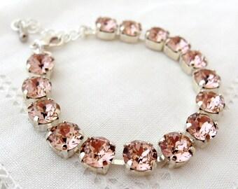 Blush bracelet, Blush pink Swarovski crystal bracelet, Blush Bridesmaids bracelet, Bridal bracelet, Gold or silver, Blush pink wedding