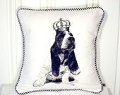 "shabby chic, feed sack, french country, vintage basset hound puppy graphic with gingham  welting 14"" x 14"" pillow sham."