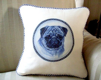 "shabby chic, feed sack, french country, delft pug graphic with gingham welting 14"" x 14"" pillow sham."