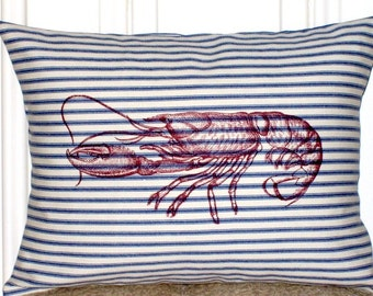 "shabby chic, feed sack, french country, navy & cream lobster 12"" x 16"" pillow sham."