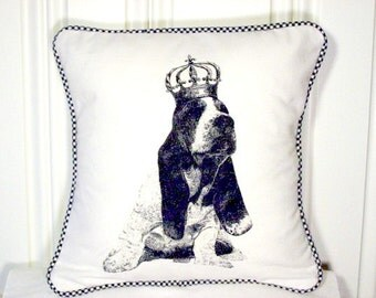 """shabby chic, feed sack, french country, vintage basset hound puppy graphic with gingham  welting 14"""" x 14"""" pillow sham."""