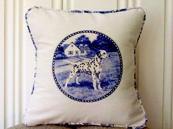 """shabby chic, feed sack, french country, delft Dalmatian graphic with toile welting 14"""" x 14"""" pillow sham."""