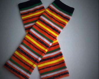 Baby Legwarmers Stripes Green, Orange, White, Yellow, Black READY TO SHIP