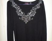 Vintage 90s Beaded Blouse Black Small Long Sleeve V Neck Jeweled Side Slits Slinky Bohemian Boho Avant Garde