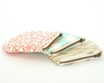Screen Printed Zipper Cases - Set of three