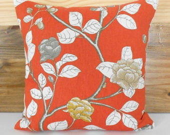 SALE Both sides, Orange, yellow and gray peony floral decorative pillow cover, Dwell Studio pillow