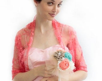 Coral lace shawl (4 options- shawl, shrug, twist and scarf) great as bridesmaids shrugs (DL130)