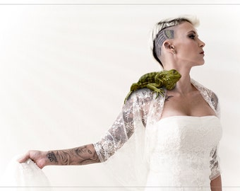 Wedding shawl, vanilla lace. Bridal cover up you can wear at 4 ways  (DL156)
