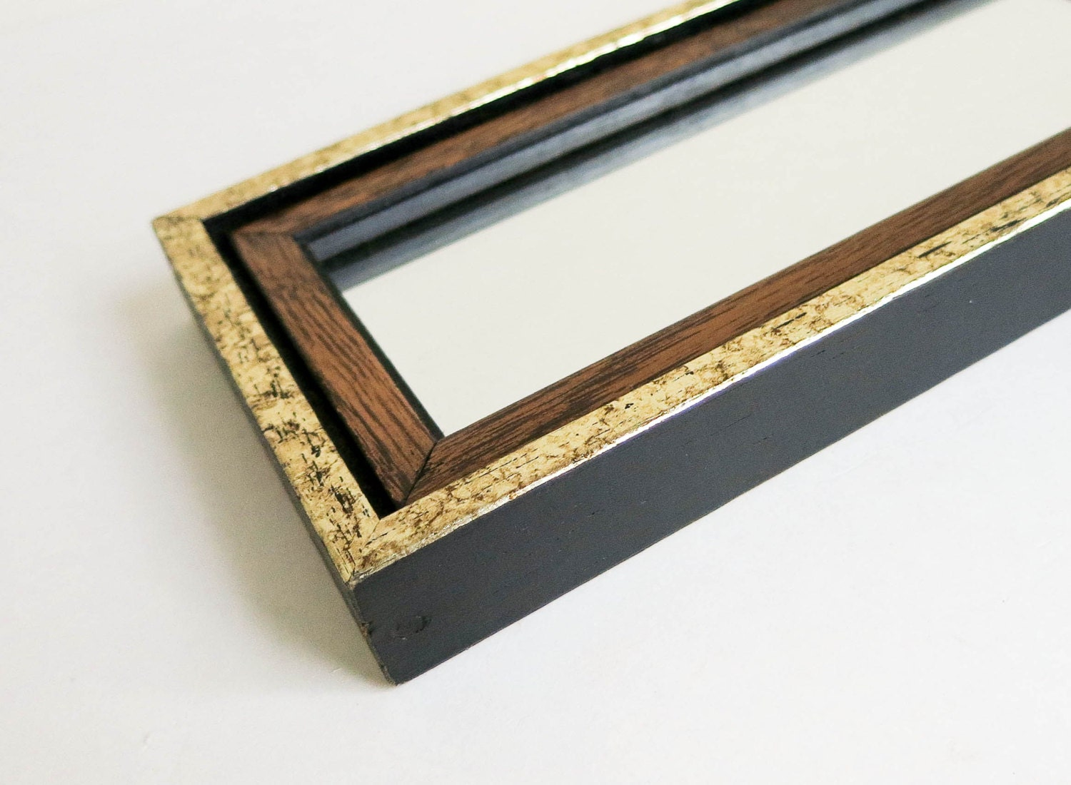 Small vintage black and gold wood mirror with double frame for Small gold framed mirrors