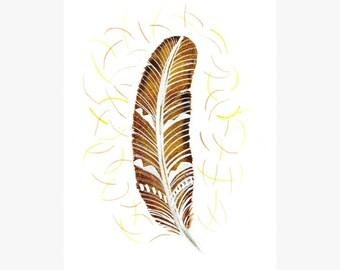 Bird feather art Original watercolor painting Hand painted art card Yellow brown autumn fall decor