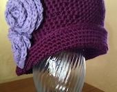 Deep plum women's hat, roaring twenties, cloche, asymmetrical, free shipping