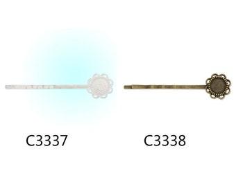 10pcs Brass Bobby Pin With bezel,fit 8mm cabochons,hair pin,bobby pin,bobby blanks