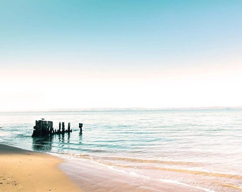 beach photography ocean nautical decor 8x10 24x36 fine art photography pastel coastal prints jetty photography blue teal aqua water ripples