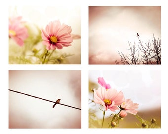 nature photography set birds photography flower 5x7 8x10 11x14 fine art photography bird flying botanical print set floral pastel wall decor