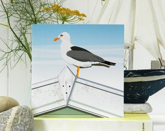 Seagull Card 'The Lookout' - Blank, British Seaside, Father's Day, Birthday