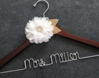 RUSTIC Wedding Dress Hanger - Burlap and Lace Bridal Hanger - Mrs Hanger - Last Name Hanger - Custom Wedding Hanger - Bride Shower Gift