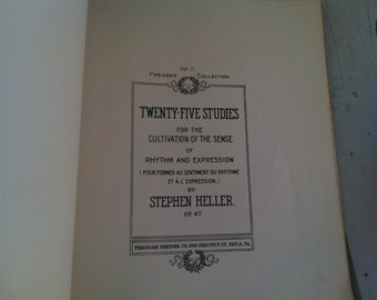 Antique Piano Song Book by Stephen Heller - Vintage Music Instruction Manual, Playing Piano, Classic Piano Music, Antique Piano Music Book