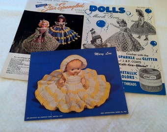 Lot of 3 1950's Leaflets for Crocheted Dolly Outfits