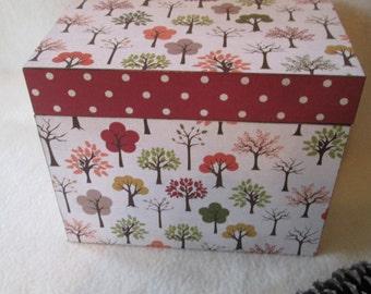 Recipe Box - Trees - Autumn Wooden Recipe Box - Keepsake Box -  Shower Gift - Wedding Gift - READY TO SHIP