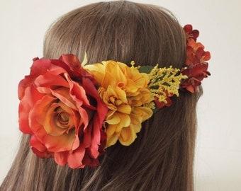 Bridal flower crown, bridal headpiece, golden yellow, wedding flower crown, woodland, fall, autumn floral crown