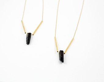 Gold layered necklace, Long Gold Tribal Necklace, Quartz Necklace, Black Quartz, Boho Necklace