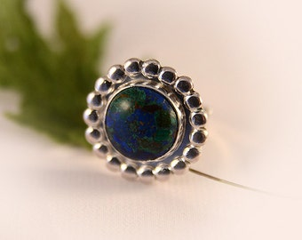 Handmade sterling Azurite Malachite Ring adjustable size