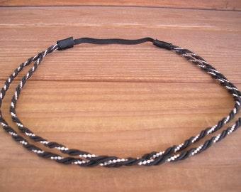 Boho Headband Hippie Headpiece Spring Fashion Accessories Women Headband in Black and Silver Twisted Cord Trim