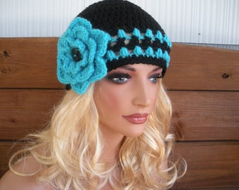 Womens Hat Crochet Hat Cloche Winter Fashion Accessories Women Beanie Winter Hat Black with Aqua blue Stripes and Flower
