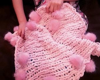 Faux Fur Pom Pom Baby Blanket Photography Prop Ballet Pink