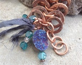 Infinite loop copper bracelet with druzy quarts and crystals