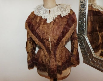Rare Victorian silk brocade jacket blouse Antique French boned jacket w handmade lace, pleats, 1800s gothic steampunk clothing for women