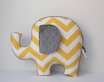 Chevron elephant pillow, yellow grey gray, modern nursery decor, baby shower gift