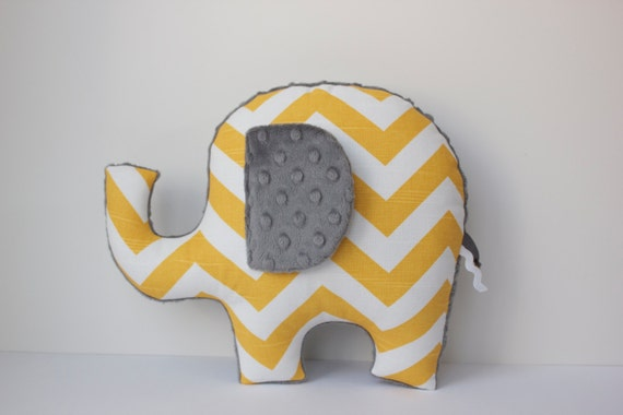 Chevron elephant pillow, yellow grey gray, modern nursery decor, baby shower gift