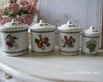 Botanical Fruit Dollhouse Canisters 1/12 Scale