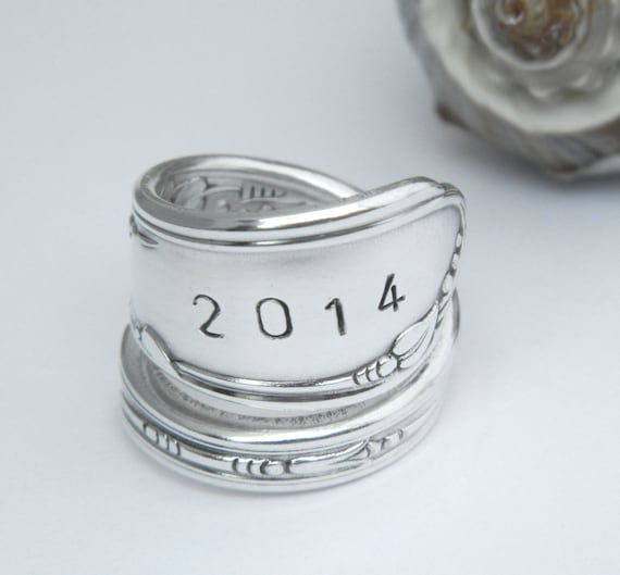 Graduation SPOON RING CLASS of 2016 Handstamped Silverware Jewelry- you choose year Grad Gift